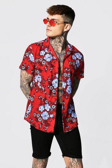 Red Short Sleeve Revere Floral Shirt