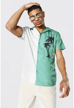 Short Sleeve Revere Spliced Aloha Shirt, Green Серый