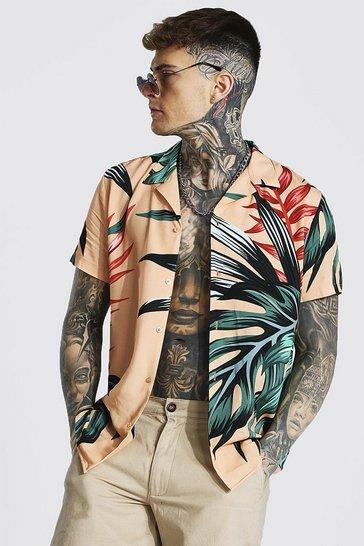 Orange Short Sleeve Revere Viscose Palm Leaf Shirt