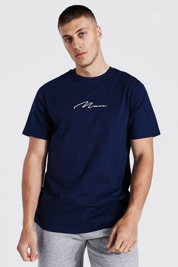 Navy Man Signature Embroidered T-shirt