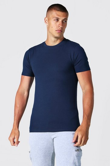 Navy  Muscle Fit Basic T-shirt