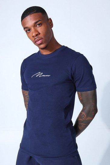 Navy Muscle Fit Man Signature Embroidered T-shirt