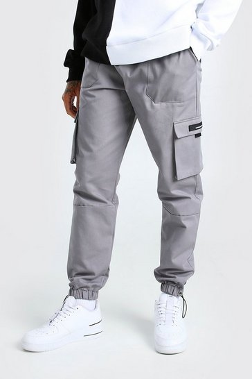 Slate grey Twill Cargo Trouser With Rubber Tab Detail