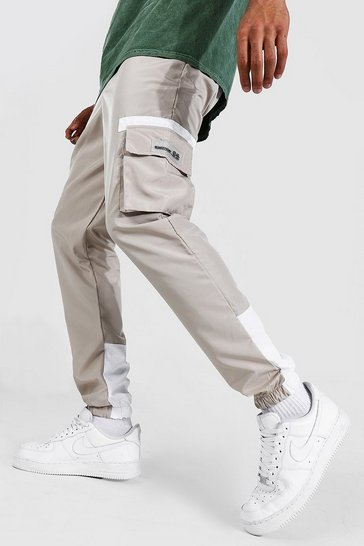 Stone beige Shell Cargo Rubber Badge Contrast Joggers