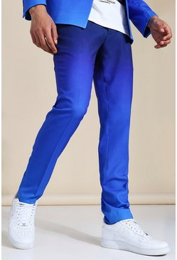 Skinny Blue Ombre Suit Trousers