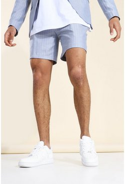Light blue blue Herringbone Fixed Waistband Smart Shorts