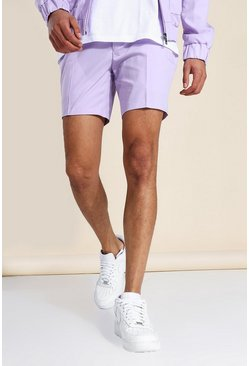 Lilac purple Skinny Smart Fixed Waistband Shorts