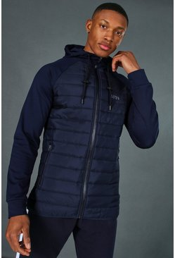 Navy Man Active Quilted Zip Through Hoodie