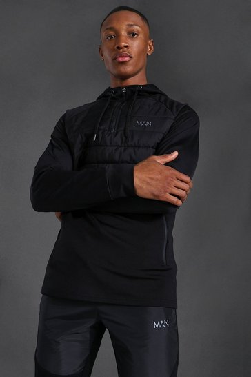 Black Man Active Quilted 1/4 Zip Hoodie
