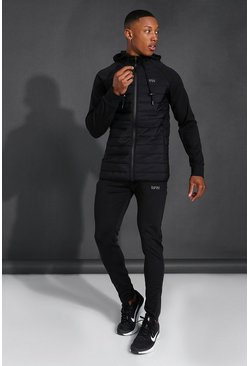 Black Man Active Quilted Zip Hoodie Tracksuit