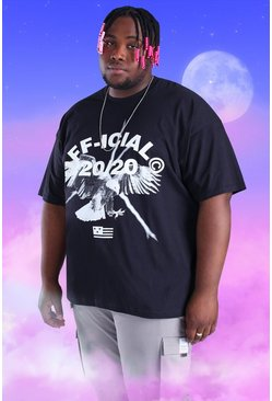Black Plus Size Official Iridescent Print T-Shirt