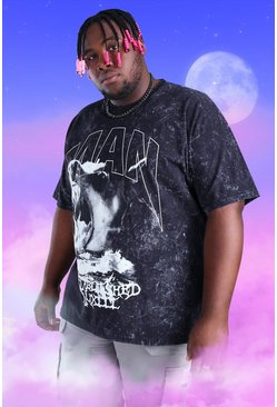 Black Plus Size Acid Wash MAN Dog Print T-Shirt