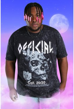 Black Plus Size Acid Wash Skull Print T-Shirt