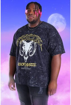 Black Plus Size Acid Wash Ram Skull Print T-Shirt