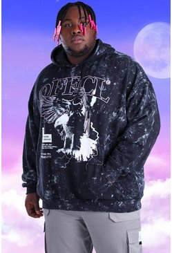 Black Plus Size Acid Wash Eagle Print Hoodie