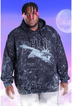 Black Plus Size Acid Wash BHM Eagle Print Hoodie