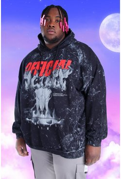 Black Plus Size Acid Wash Official Print Hoodie