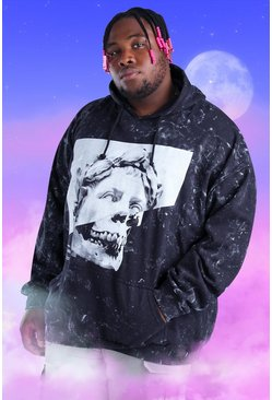 Black Plus Size Acid Wash Statue And Skull Hoodie