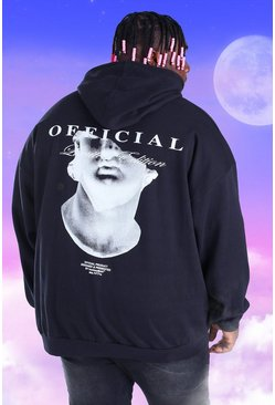 Black Plus Size Official Statue Back Print Hoodie