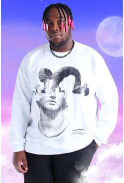 White Plus Size Spliced Statue Printed Sweatshirt