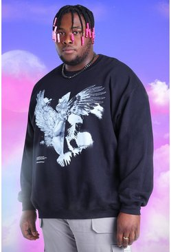 Black Plus Size Spliced Eagle Printed Sweatshirt