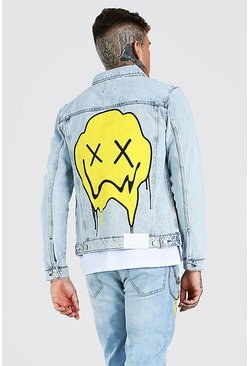 Light blue blue Regular Fit Denim Jacket With Drip Face