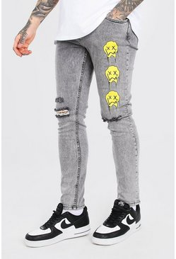 Grey Skinny Stretch Jean With Drip Face