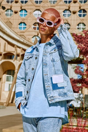 Light blue blue Regular Fit Patchwork Denim Jacket