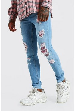 Mid blue blue Super Skinny Rip And Repair Bandana Jean