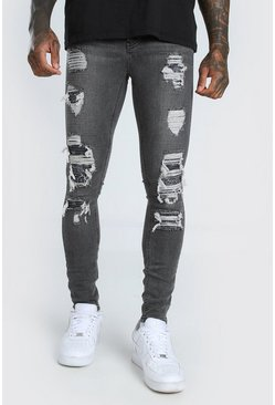 Grey Super Skinny Rip & Repair Bandana Jean
