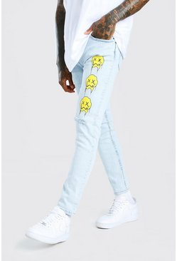 Light blue blue Skinny Stretch Jean With Drip Graphic Print