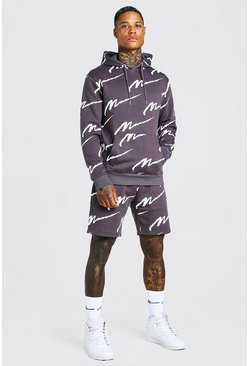 Slate grey All Over MAN Printed Hooded Short Tracksuit