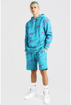 Teal green All Over MAN Printed Hooded Short Tracksuit
