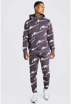 Slate grey All Over MAN Printed Hooded Tracksuit