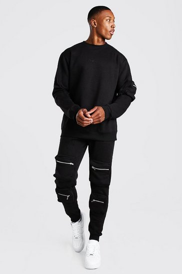 Black Official 3D Utility Pocket Sweater Tracksuit