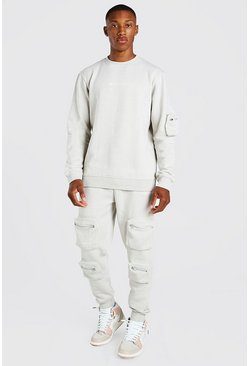 Stone beige Official 3D Utility Pocket Sweater Tracksuit