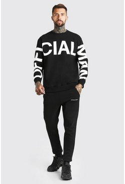 Black Loose Fit Official MAN Print Sweater Tracksuit