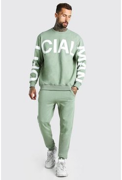 Khaki Loose Fit Official MAN Print Sweater Tracksuit