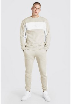 Stone beige MAN Signature Colour Block Sweater Tracksuit