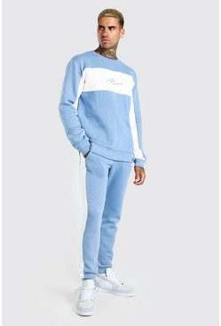 Dusty blue blue MAN Signature Colour Block Sweater Tracksuit