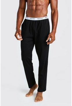 Zwart black MAN Dash jacquard loungebroek met tailleband