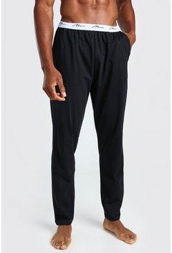 Black MAN Signature Jacquard Waistband Lounge Pant