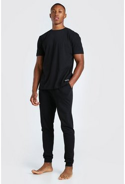 Black MAN Dash Jacquard Waistband Lounge Set