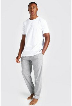 Grey MAN Dash Waistband Tee And Lounge Pant Set