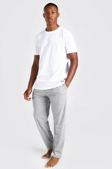 Grey MAN Dash Waistband Tee And Lounge Pant Set