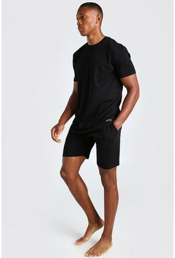 Black MAN Dash Jacquard Waistband Lounge Short Set