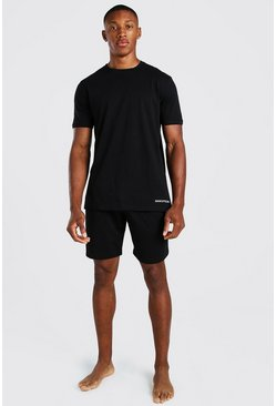 Black MAN Official Jacquard Waistband Lounge Short Set