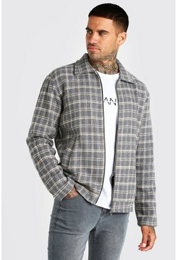 Charcoal grey Grid Check Unlined Harrington Jacket