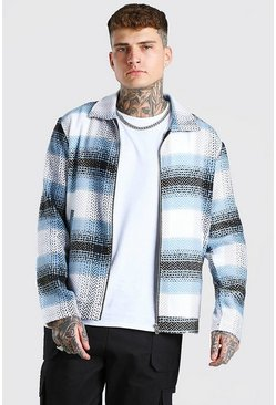 Light blue Herringbone check harrington jacket