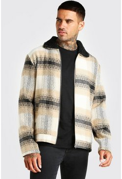 Stone beige Check herringbone borg collar harrington jacket